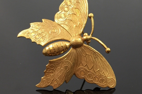 Miriam Haskell Russian Gold Butterfly Brooch