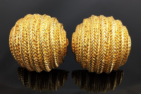 Large Gold Tone Half Dome Earrings - Vintage 1980s, Textured Rope