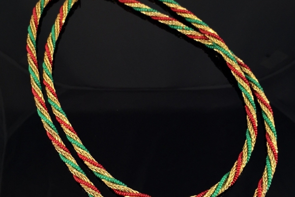 Miriam Haskell Red & Green Glass Bead Rope Necklace - Vintage