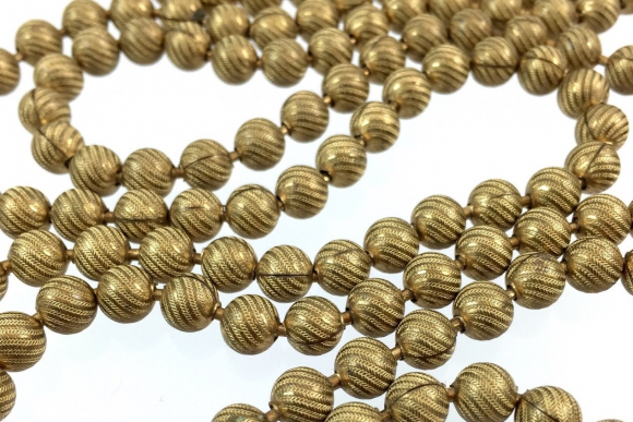 Art Deco Swirled Gold Bead Continuous Necklace - Vintage 1930s