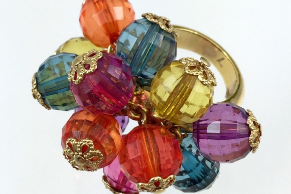 Kate Spade Multi Color Bead Cha Cha Ring - Vintage, Size 7