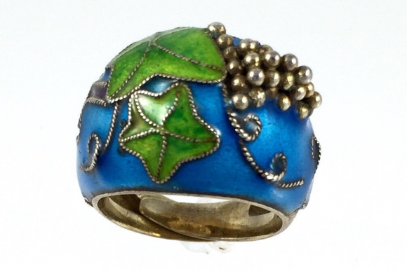 Old Chinese Export Silver Vermeil Cloisonne Enamel Ring - 1930s Size 5.25
