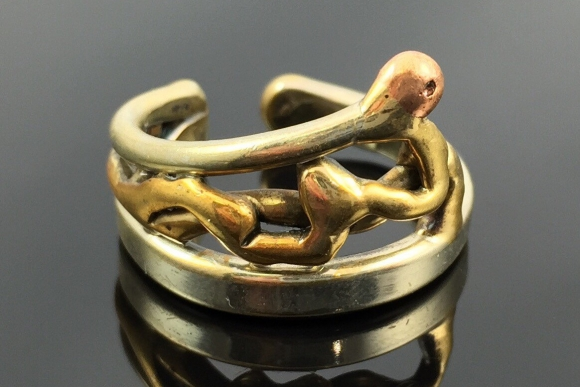 Brutalist Mixed Metals Ring - Vintage Abstract Mid Century Modernist