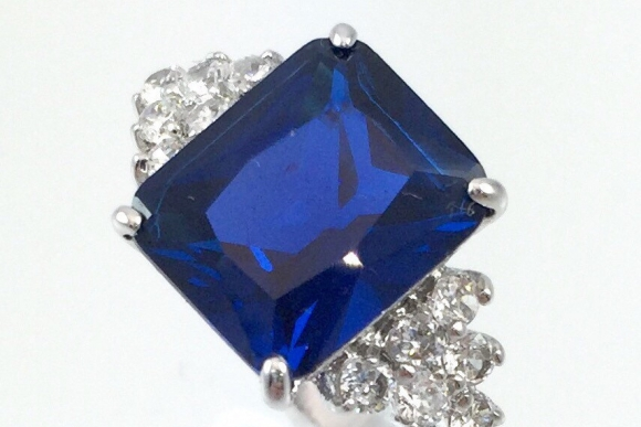 Sapphire Blue Cubic Zirconia Vintage Ring - Synthetic Blue Spinel