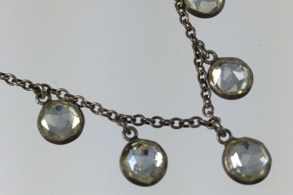 Vintage Art Deco Twenties Sterling Silver & Paste Dangle Necklace
