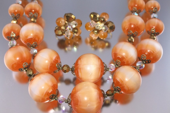 Grand Vendome Graduated Double Strand Moonglow Necklace/Earrings