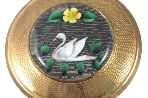 Vintage KIGU of London Lucite Perspex Swan Powder Compact - 1950s