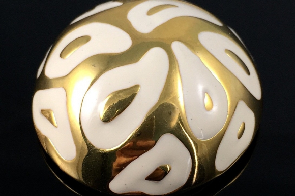 White Enamel Gold Dome Scarf Clip - Vintage Eighties High Fashion