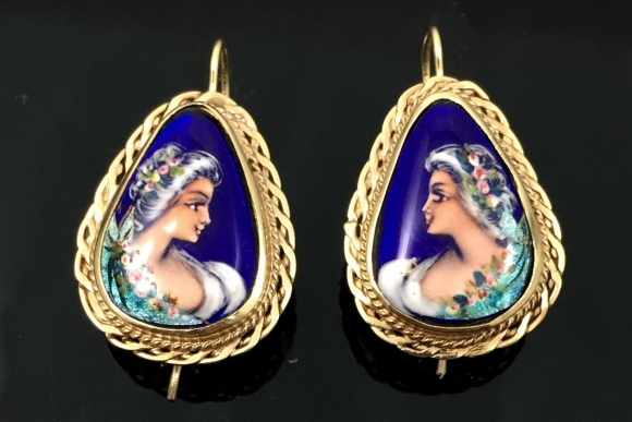 14K French Enamel Portrait Pierced Earrings - Antique Hand Painted