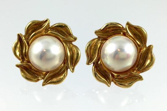 18K Gold Mabe Pearl Flower Earrings - Circa 1990 Fine Estate