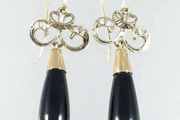 Antique Art Deco Black Onyx & Diamond Dangle Earrings - Vintage 1920s