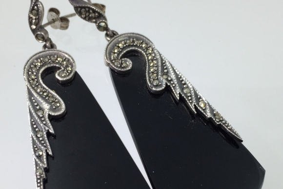 Art Deco Black Onyx & Marcasite Dangle Earrings - Sterling Silver 925