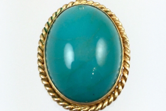 Vintage Estate 14K Gold Turquoise Pendant Necklace - Circa 1960s