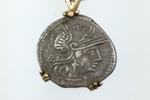 Authentic Silver Denarius Coin 14K Gold Handmade Pendant - 2nd Century BC