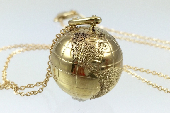 10K Gold World Globe Charm Pendant - World Traveller Charm