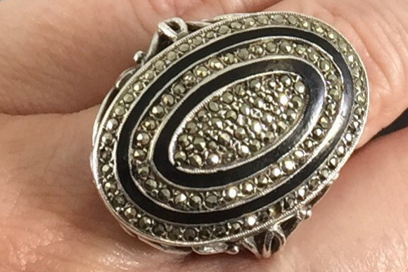Art Deco Sterling Silver Marcasite Ring - Antique Vintage 20s Oval