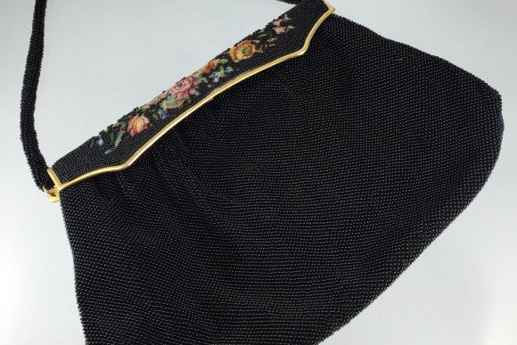 French Black Beaded Petit Point Purse - Vintage 1940s Made in France