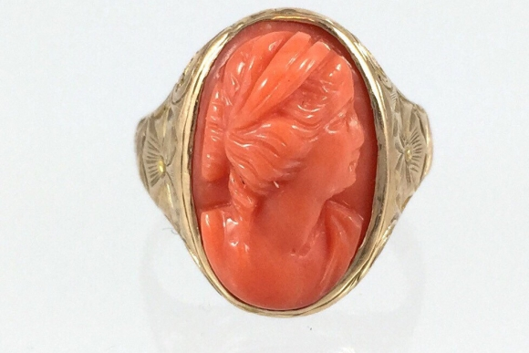 Victorian 14K Gold Coral Cameo Ring - Circa 1875, Hand Engraved Ring