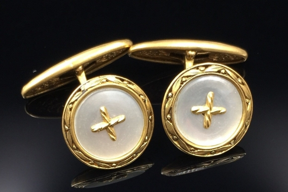 Antique French 18K Mother of Pearl Cufflinks - Circa 1900 Made in France Groom Wedding Gift CFL8917