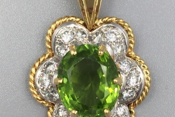 18K Peridot Diamond Pendant Necklace