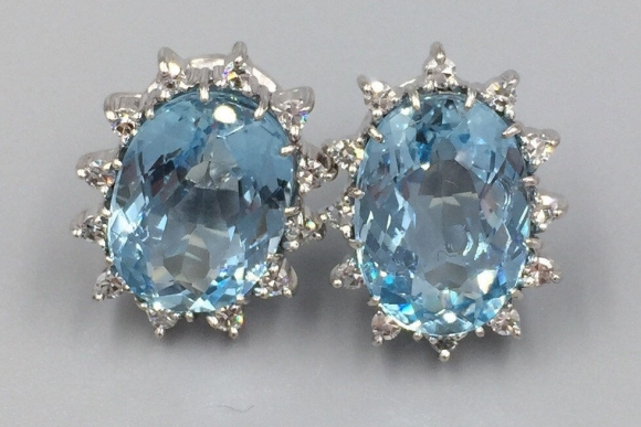 14K White Gold Large Oval Aquamarine Diamond Pierced Earrings - Fine Estate Aquamarine Earrings, March Birthstone, Wedding Jewelry