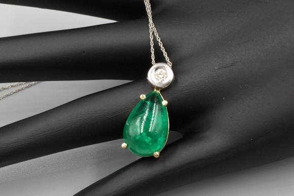 14K Emerald Diamond Pendant Necklace