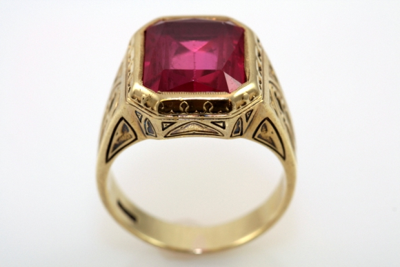 Antique Larter Sons Mens Ruby Ring