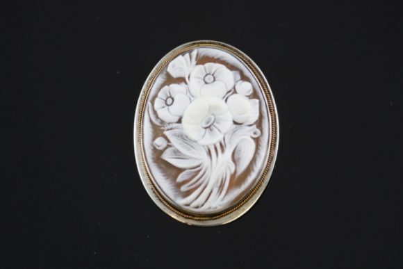 Floral Bouquet Shell Cameo Brooch