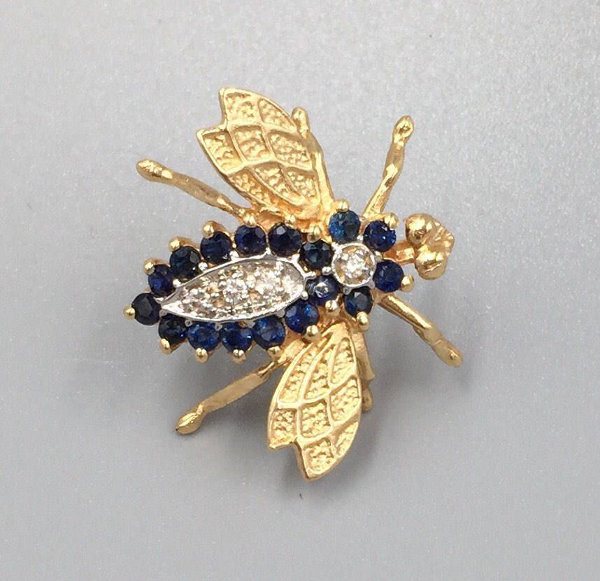 14k Gold Sapphire Diamond Bumble Bee Brooch