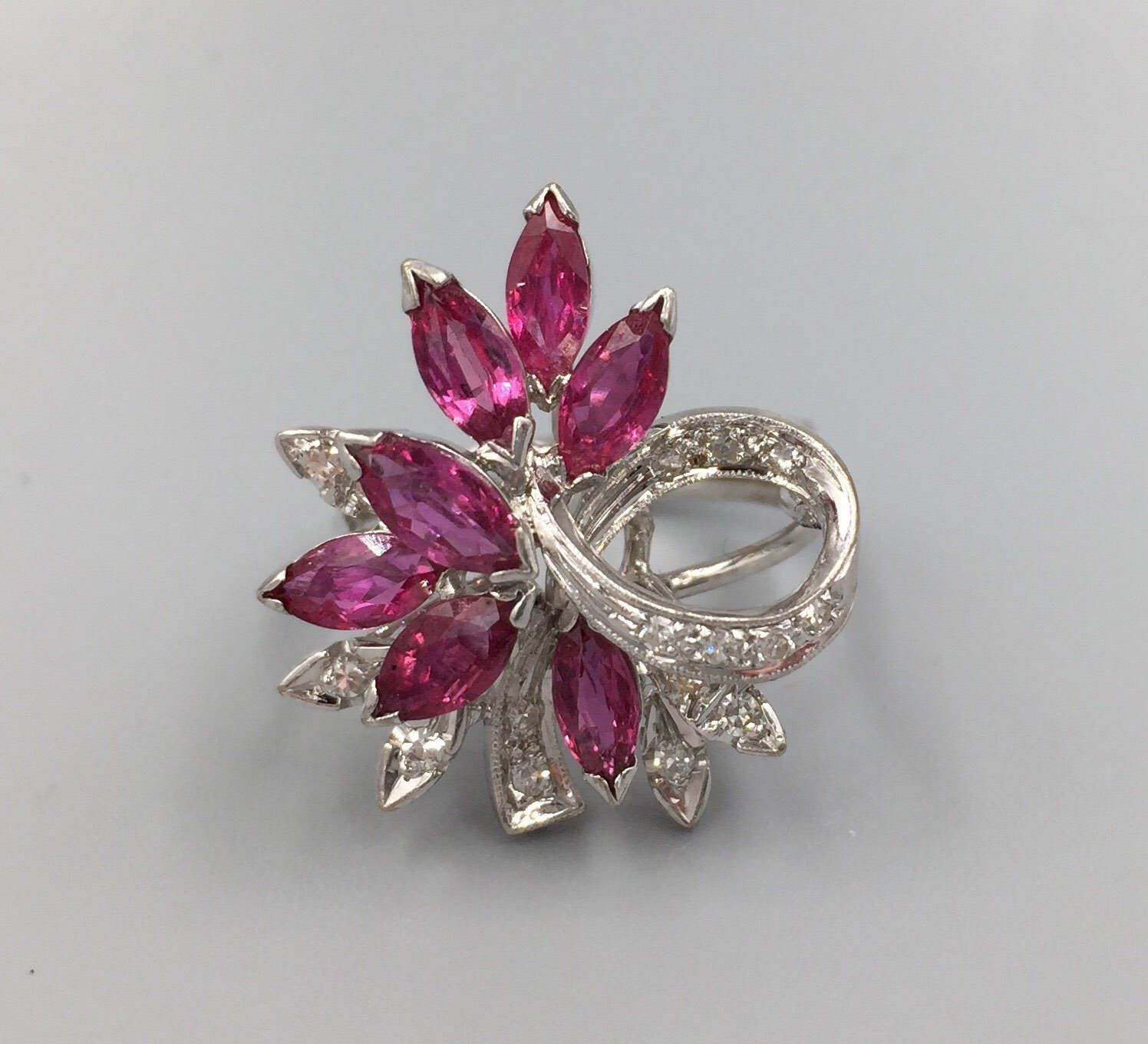 14k Natural Ruby Diamond Waterfall Spray Cocktail Ring