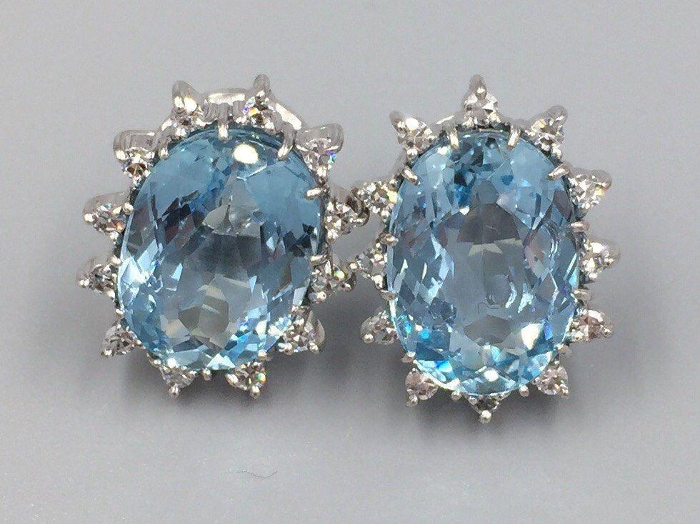 14k White Gold Large Oval Aquamarine Diamond Pierced