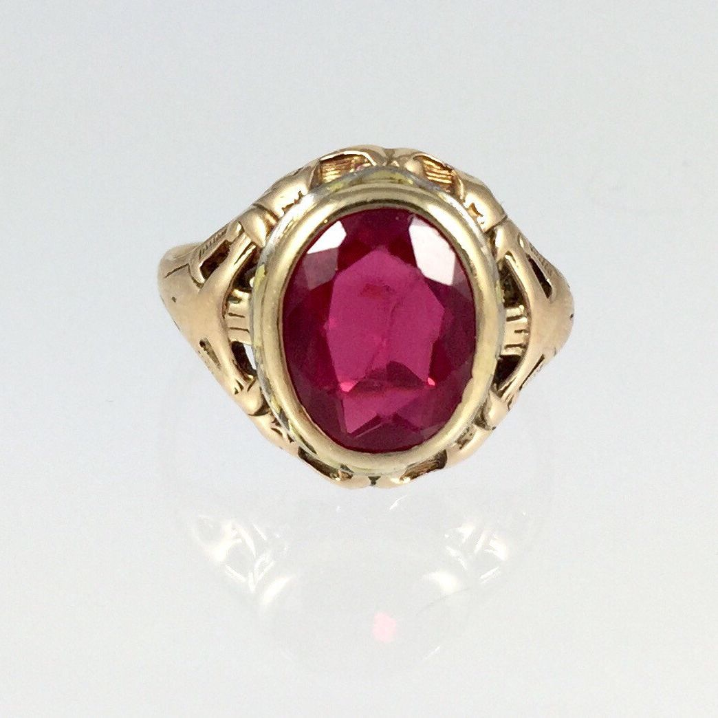 Antique Ladies Synthetic Ruby Pinky Ring Vintage 1900s 14k