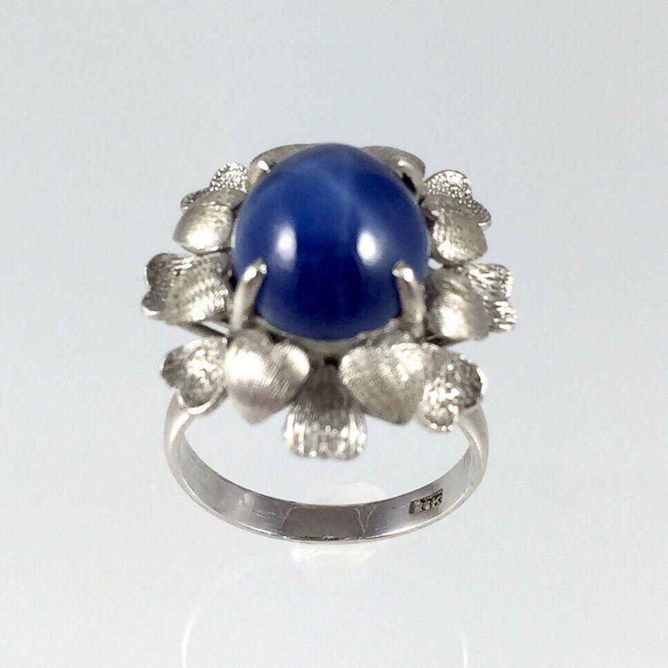 Vintage 18k White Gold Blue Star Sapphire 1950s