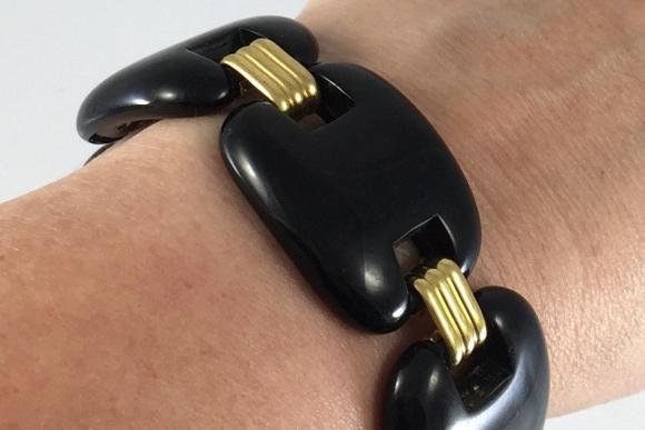 Wide Gold & Black Lucite Link Bracelet - Vintage 1960s