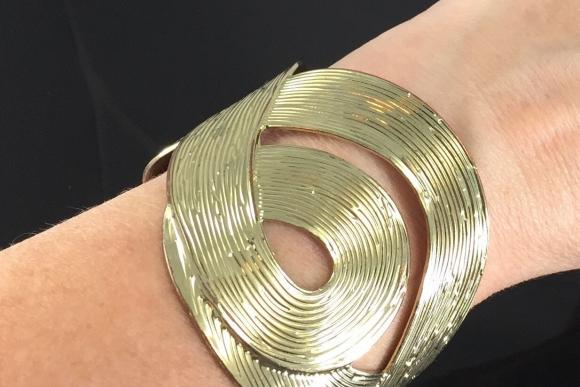 Wide Gold Statement Cuff Bracelet - Gold Swirled Cut Out Bold Cuff