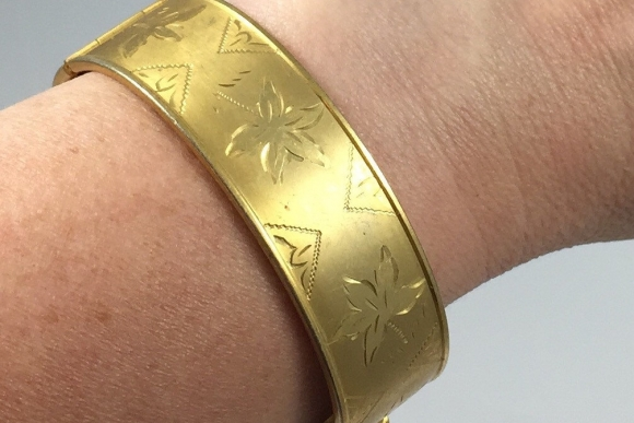 Coro Engraved Gold Bangle - Vintage 50s