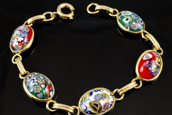 Multicolor Millefiori Glass Cabochon Bracelet - Vintage 1960s