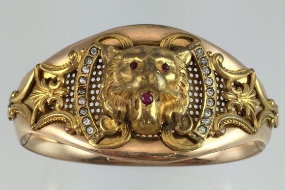 Victorian Gold Filled Lion Bangle Bracelet - Vintage 1890s