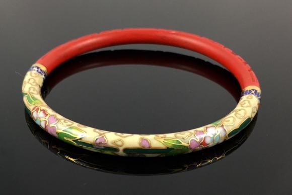 Chinese Cloisonne Enamel Carved Cinnabar Bangle Bracelet