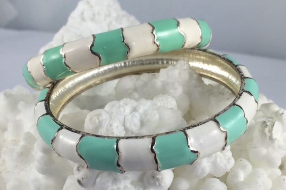 Vintage Pair of Aqua & White Enamel Bangle Bracelets