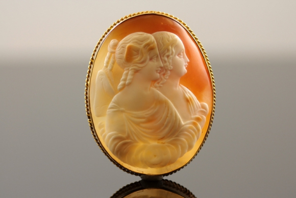 Psyche and Eros Shell Cameo Brooch