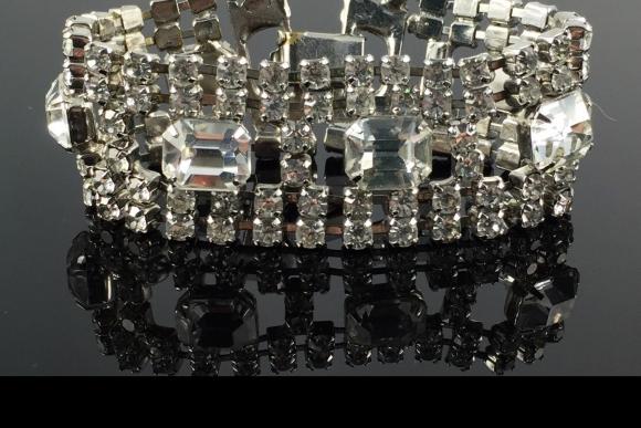 Wide Crystal Rhinestone Bracelet - Vintage 50s Bling