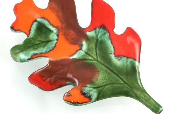 Ceramic Autumn Fall Oak Leaf Brooch