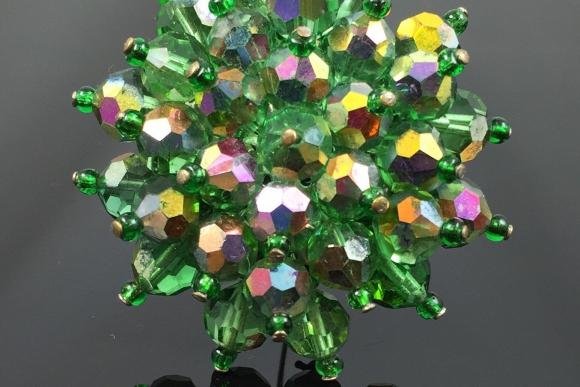 Green AB Crystal Bead Cluster Brooch - Vintage 1960s