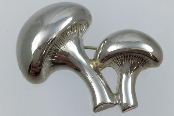 Silver Mushroom Brooch - Vintage Sixties