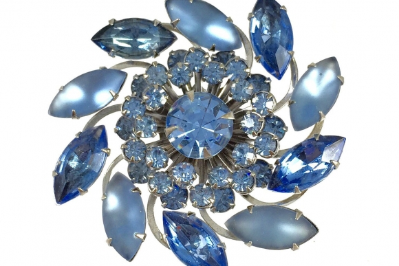 Vintage Ice Blue Satin Glass & Rhinestone Pinwheel Swirl Brooch