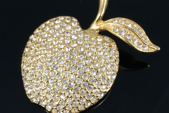 Large Crystal Apple Brooch - Gold Rhinestone Fruit