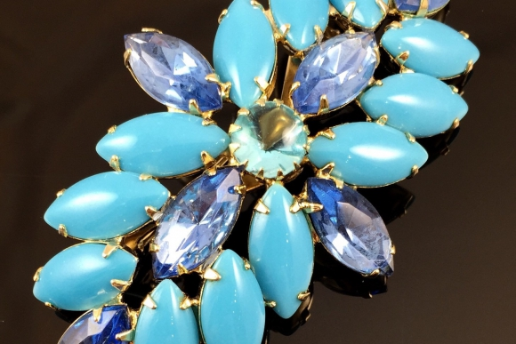 Turquoise & Ice Blue Navette Glass Stone Brooch - Vintage 1950s