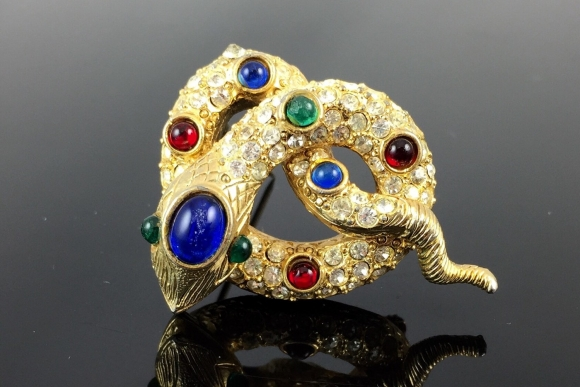 Coiled Rhinestone Cobra Snake Brooch with Cabochon Jewels