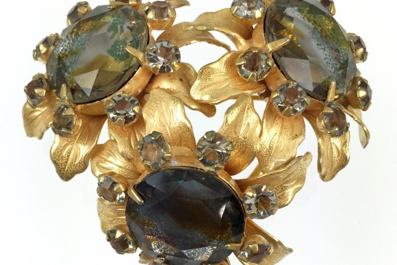 Smoky Topaz Glass Stone Gold Flower Cluster Brooch